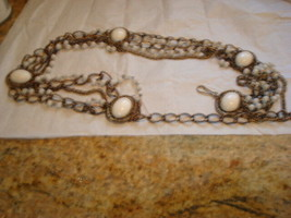 """Vintage White Lucite Beads and Cabs And Chains 36""""L Belt - $19.79"""