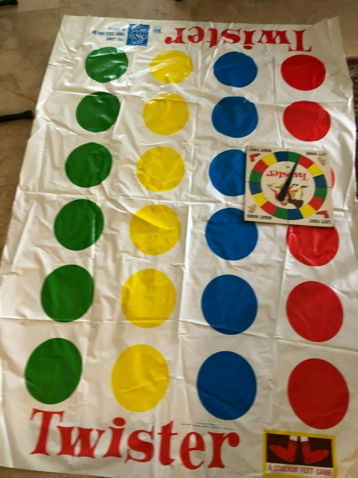 1966 Twister Mat and Spinner in good vintage condition, #4645 tablecloth - $9.78