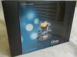 NESPRESSO Lungo Glass Collection Cappuccino Cup & Black Saucer NEW SET  - $39.99