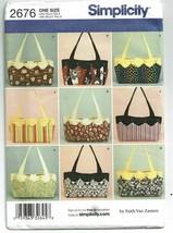 Simplicity Sewing Pattern 2676 Bags Totes Faith Van Zanten  - $9.74