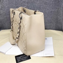 AUTHENTIC CHANEL QUILTED CAVIAR GST GRAND SHOPPING TOTE BAG BEIGE SHW RECEIPT  image 6