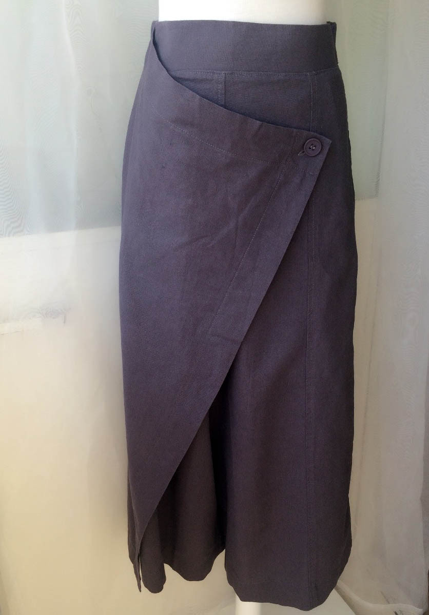 GRAY LINEN PANTS Women Casual Loose Wrap Pants Wide Leg Pants Trousers One Size