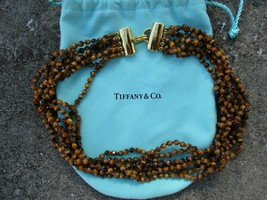 Price DROP for 24hrs~~~~Genuine Tiffany & Co tiger's eye necklace 18k gold clasp - $1,310.38