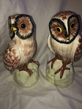 """2 Barn Owls Figurines Hand Painted Vintaly Italy 8"""" Tall - $39.59"""