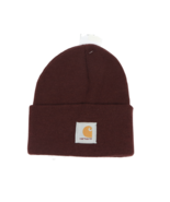 New Carhartt Spell Out Patch Acrylic Winter Beanie Hat Cap Port Wine Pur... - £23.80 GBP