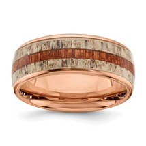 Men's 8mm Stainless Steel Rose Tone Wood & Antler Inlay Band - $84.99