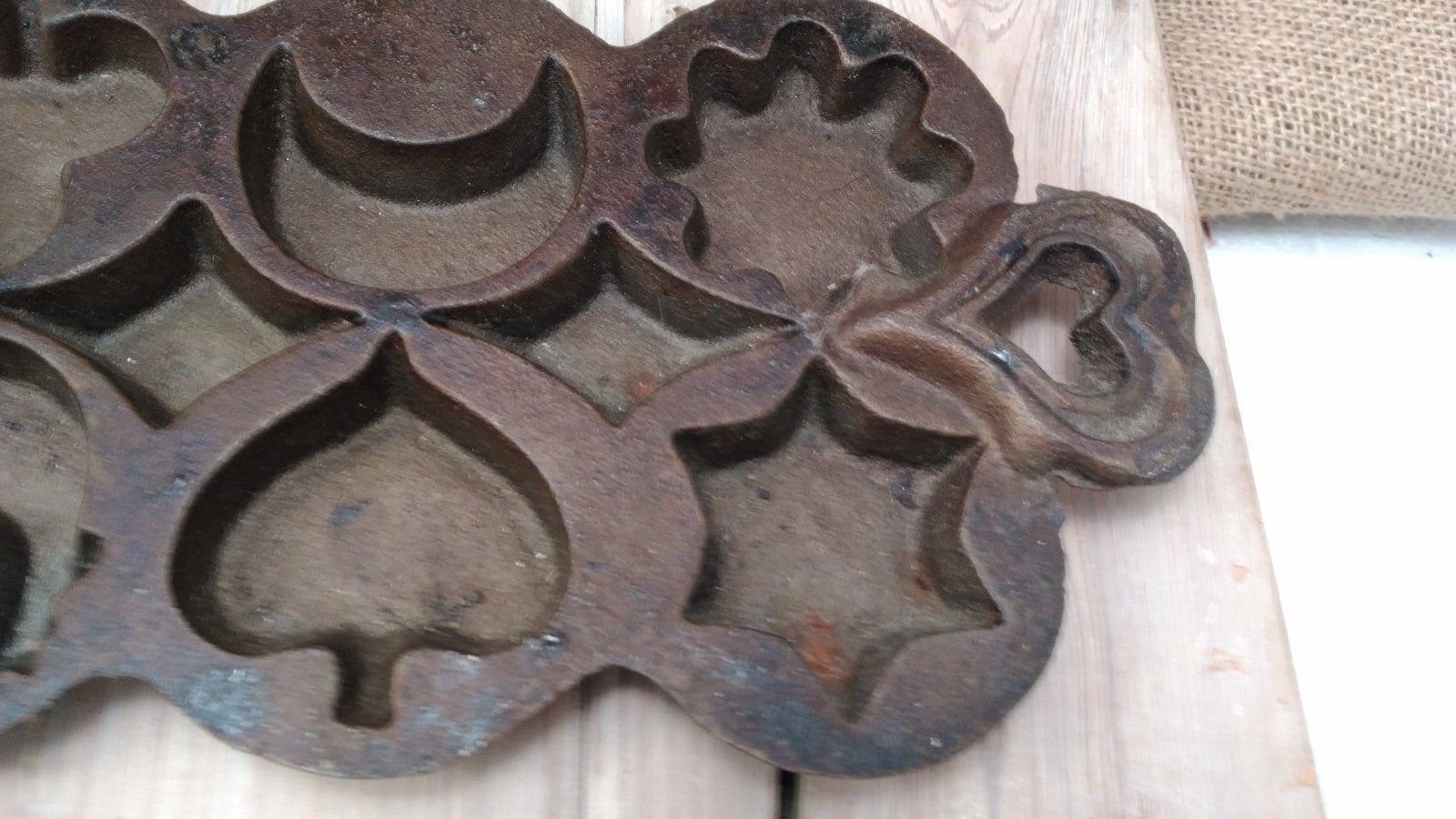 Vintage Cast iron mold cookies, cornbread, cakes, muffins, tree,spade,moon,house