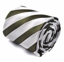 Frederick Thomas dark green & white club striped mens tie FT1575