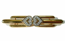 Vintage Monet Signed Gold Tone & Diamante Heart Bar Brooch 1980s Pin - $11.00