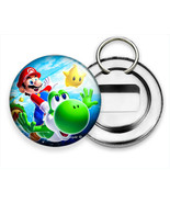 SUPER MARIO BROTHERS RIDING YOSHI IN SPACE HD BEER BOTTLE OPENER KEYCHAI... - $12.49