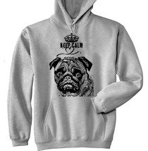 Keep Calm Love Pug 1 P - New Cotton Grey Hoodie - $39.80