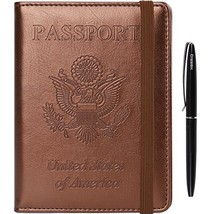 Passport Holder Cover Case - Leather RFID Blocking For Women Men With Bo... - $13.11