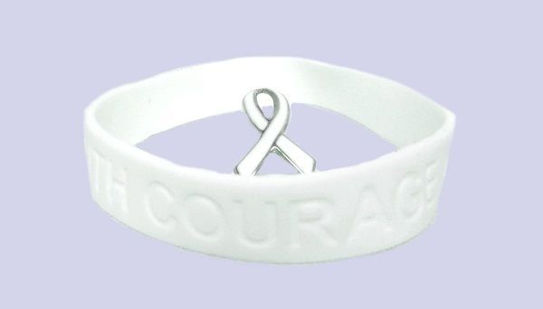 White Awareness Ribbon Lapel Pin Bracelet Set Silicone Cancer Debossed Letters image 5