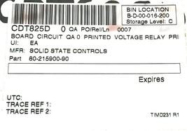 NIB SOLID STATE CONTROLS 80-215900-90 RELAY BOARD CDT825D 8021590090