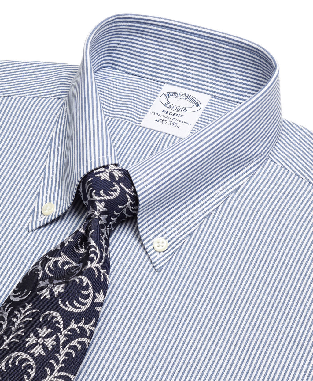 3613 Brooks Brothers Mens Blue White Striped Regent Fit Dress Shirt Sz 16 34/35