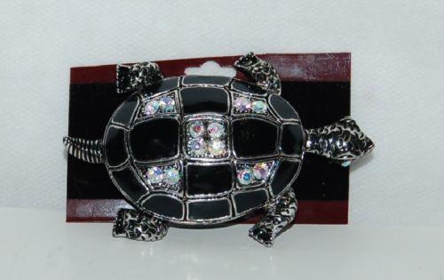 Generic Black Silver Color Iridescent Rhinestone Turtle Brooch Large