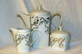 Roscher & Co Silver Floral Scroll Coffee Pot, Creamer & Covered Sugar Bo... - $41.99