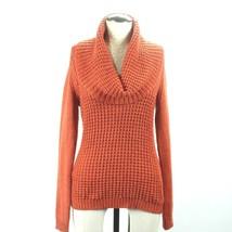 Angel of the North Anthropologie Burnt Orange Waffle Cowl Neck Wool Sweater Sz M - $37.39