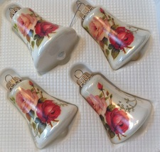 Christmas Ornament Set 4 White Glass Bells Decorated With Roses - $16.78