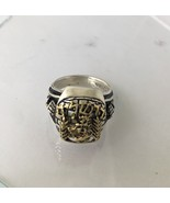 14 karat Gold Jerusalem lions gate sterling Silver signet ring    - $320.76