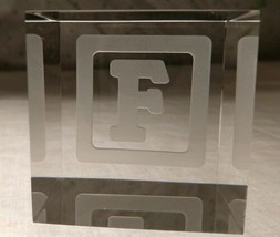 STEUBEN Glass BABY BLOCK LETTER F rare collectible crystal paperweight cube - $247.49
