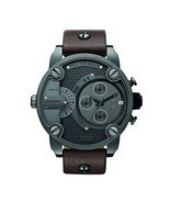 Diesel Little Daddy DZ7258 Gunmetal Brown Leather Men's Watch - £118.79 GBP