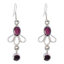 captivating Garnet 925 Sterling Silver Red Earring Natural gemstone US gift - $24.99