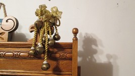 Vintage BRASS BELLS WITH GOLD ROPE ATTACHMENT   - $12.95