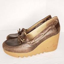 Michael Kors Size 8 M Women's Brown Platform Wedge Rubber Heels Jagged S... - $33.31