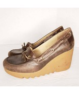 Michael Kors Size 8 M Women's Brown Platform Wedge Rubber Heels Jagged S... - $33.31