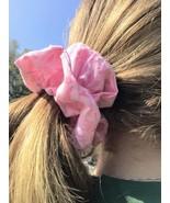 Handmade Light Pink with Leaves Medium Scrunchie - $3.50
