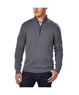 Kirkland Signature Men's Extra Fine Merino Wool ¼ Zip Sweater, Gray, Siz... - $23.75