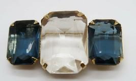 Pretty Avon blue & clear large marquis cut glass stone brooch - $14.99