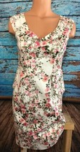 Forever 21 Floral Garden Dress Pink White Zip XS Extra Small V Neck F21 - $18.81