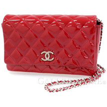 CHANEL Brilliant Chain Shoulder Bag Patent Leather Red Wallet Authentic ... - $1,527.43