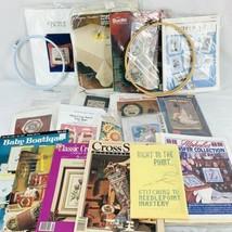 Vintage Cross Stitch Lot Kits Patterns Hoops Doll Bucilla Ozark Kappie Janlynn - $57.00