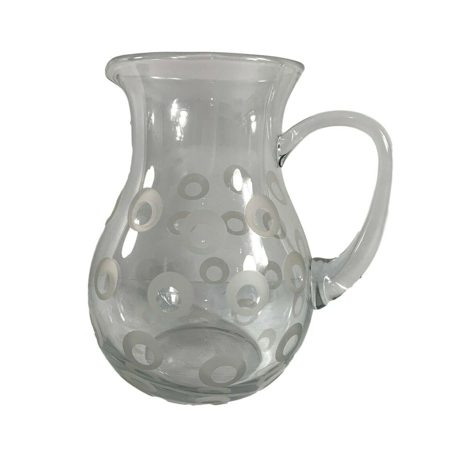 Mikasa Clear Glass Pitcher Polka Dot Circles 80 ounce Handled Polkadot Beverage - $24.75