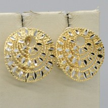 18K YELLOW GOLD ROUND BUTTON EARRINGS, FINELY WORKED AND ONDULATE, MADE IN ITALY image 1