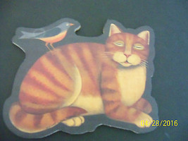 diane ulmer pedersen cat orange kitty w bird cork back puzzle replacemen... - $9.89