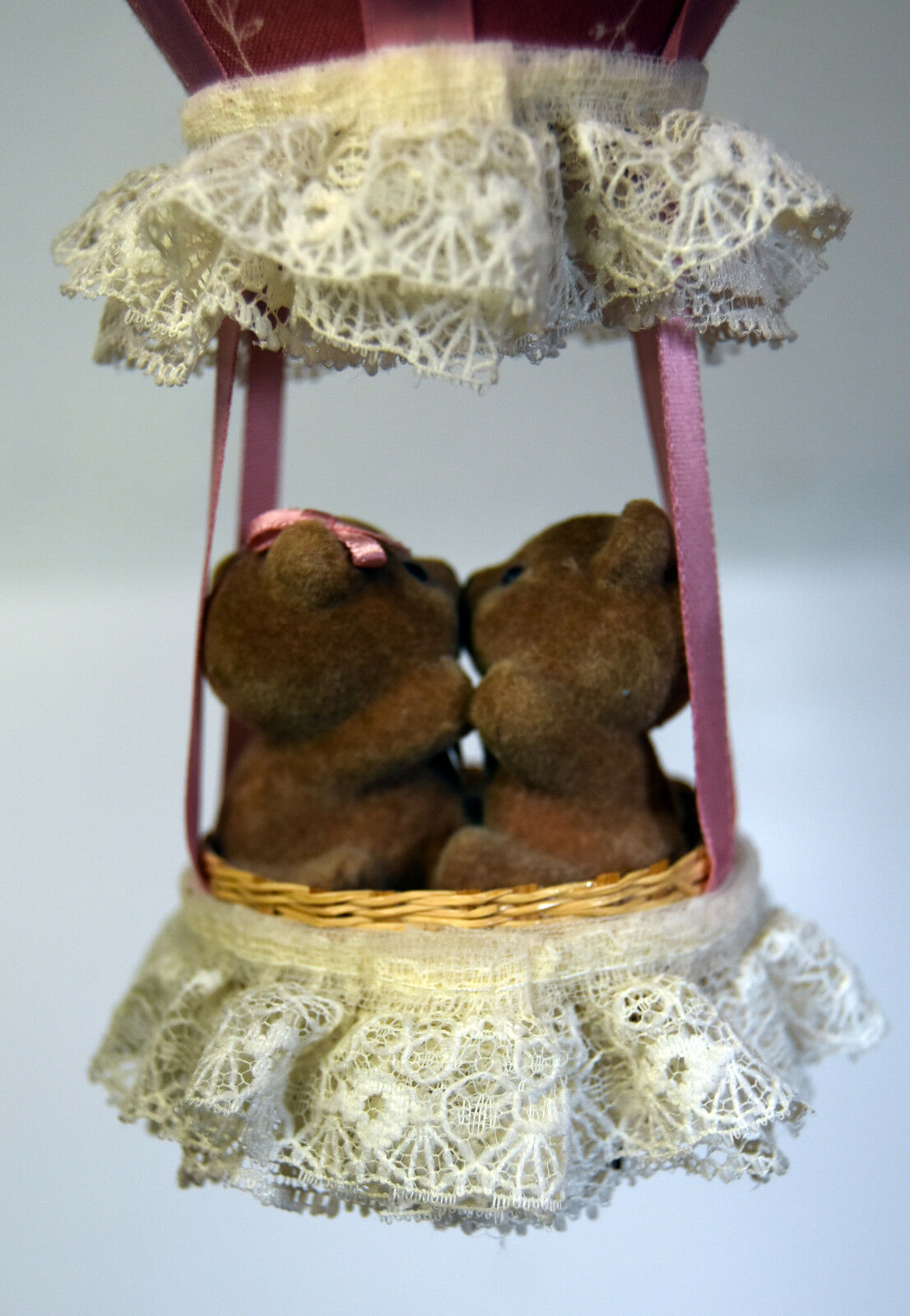 Vintage Cute Teddy Bears Love Music Box Hanging Air Baloon SANKYO