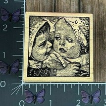 Magenta Two Babies Faces Kids Rubber Stamp Wood Mount #AA115 - $10.40