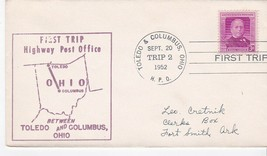 FIRST TRIP H.P.O. TOLEDO OHIO & COLUMBUS OHIO SEPT 20 1952 TRIP 2 - $1.78