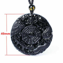 Lucky Pendant Necklace Natural Obsidian Carved Chinese Dragon Phoenix Bagua image 5