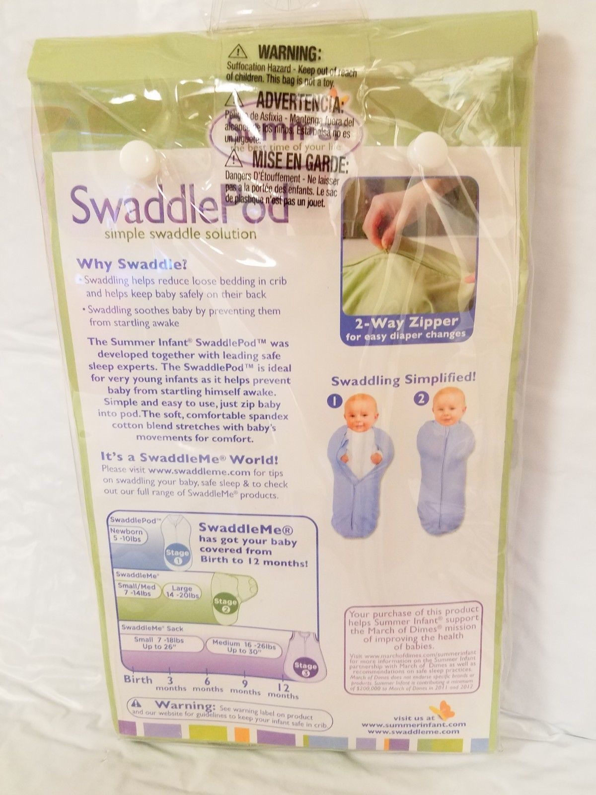 Summer Infant Newborn SwaddlePod Simple Swaddle Solution 5 -10 lbs Stage 1 NB