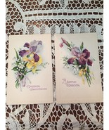 2 Antique Easter Postcards Spring Flowersl Iris Victorian Unused - $12.30