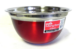 EuroHome Stainless Steel Mixiing Bowl 3-Quart, Red Wide Base for Stability - $11.76