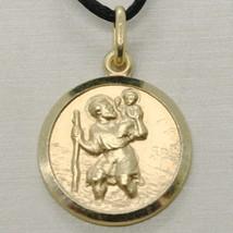 SOLID 18K YELLOW GOLD ST SAINT SANT CRISTOFORO CHRISTOPHER MEDAL DIAMETER 17 MM image 1