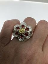 Vintage Garnet Flower Ring 925 Sterling Silver Size 11 - $163.35