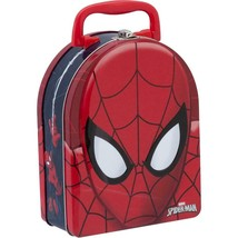 Spiderman Spidey Dome Shaped Metal Tin Lunch Box Carrier Birthday Party ... - $10.84