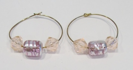 handmade gold hoop earrings with pink and silver beads   - $9.00